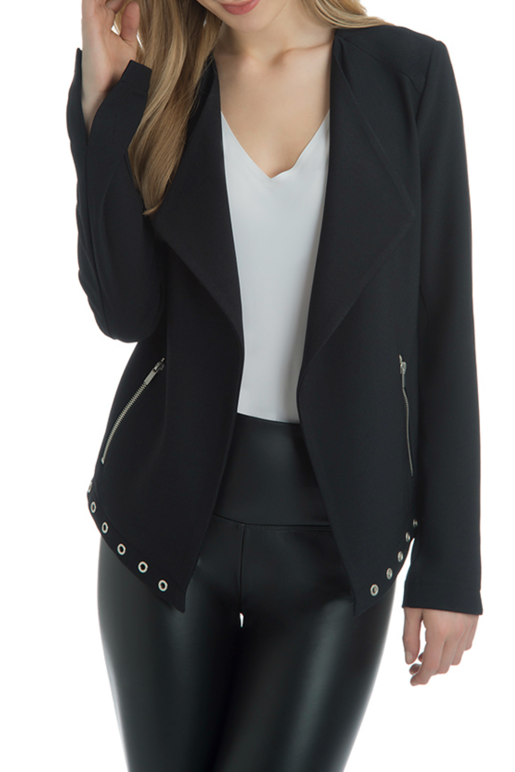 Lyssé Blair Grommet Side Tie Jacket - Front Cropped Image