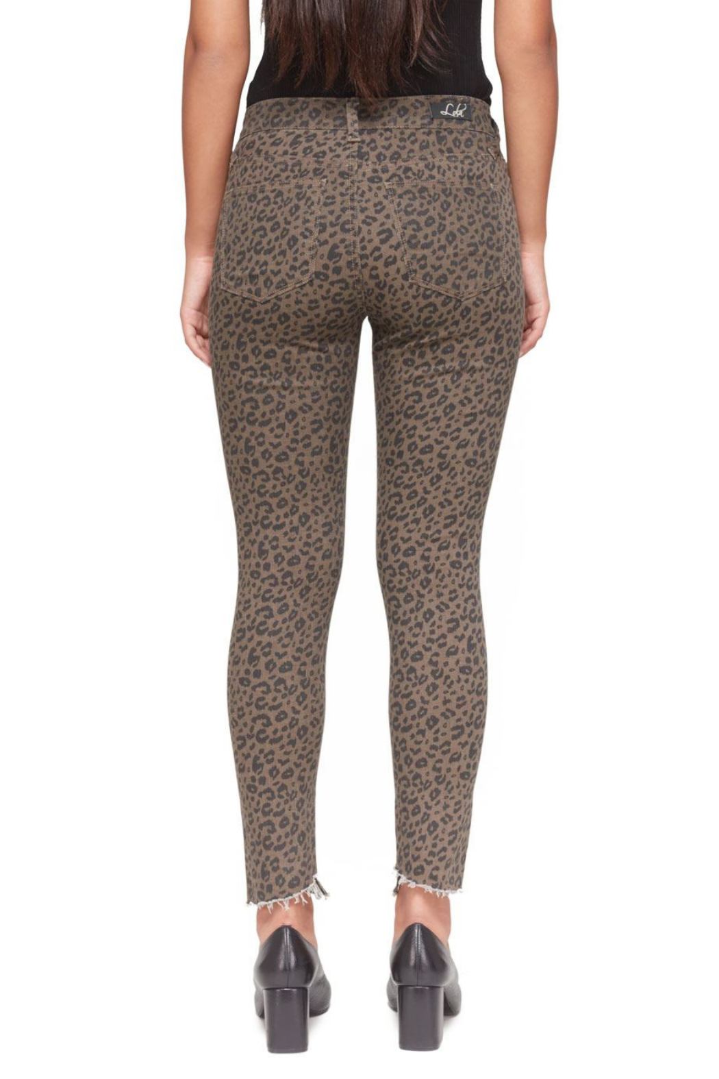 Lola Jeans Blair Leopard Mid-Rise Skinny Jean - Side Cropped Image