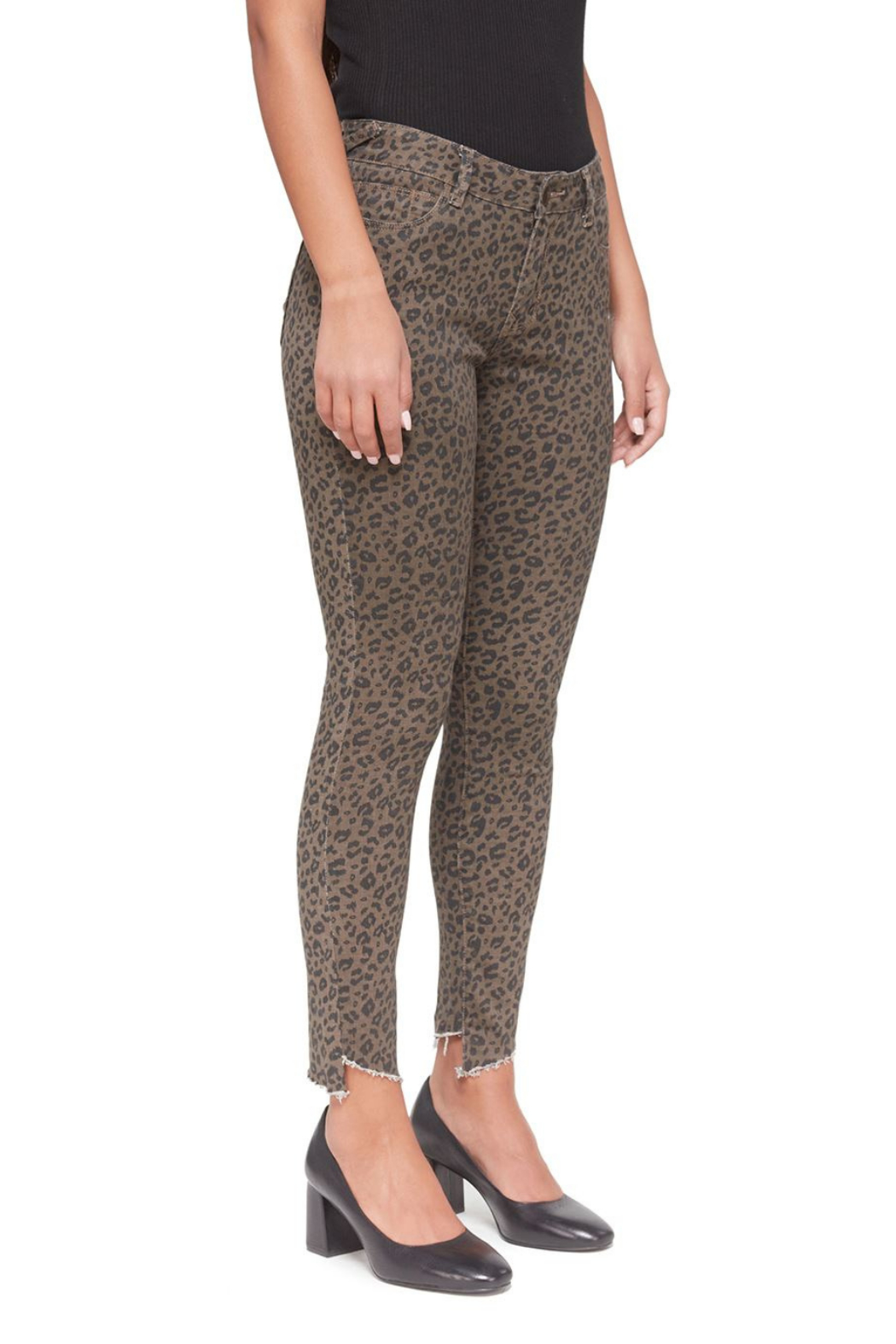Lola Jeans Blair Leopard Mid-Rise Skinny Jean - Front Full Image