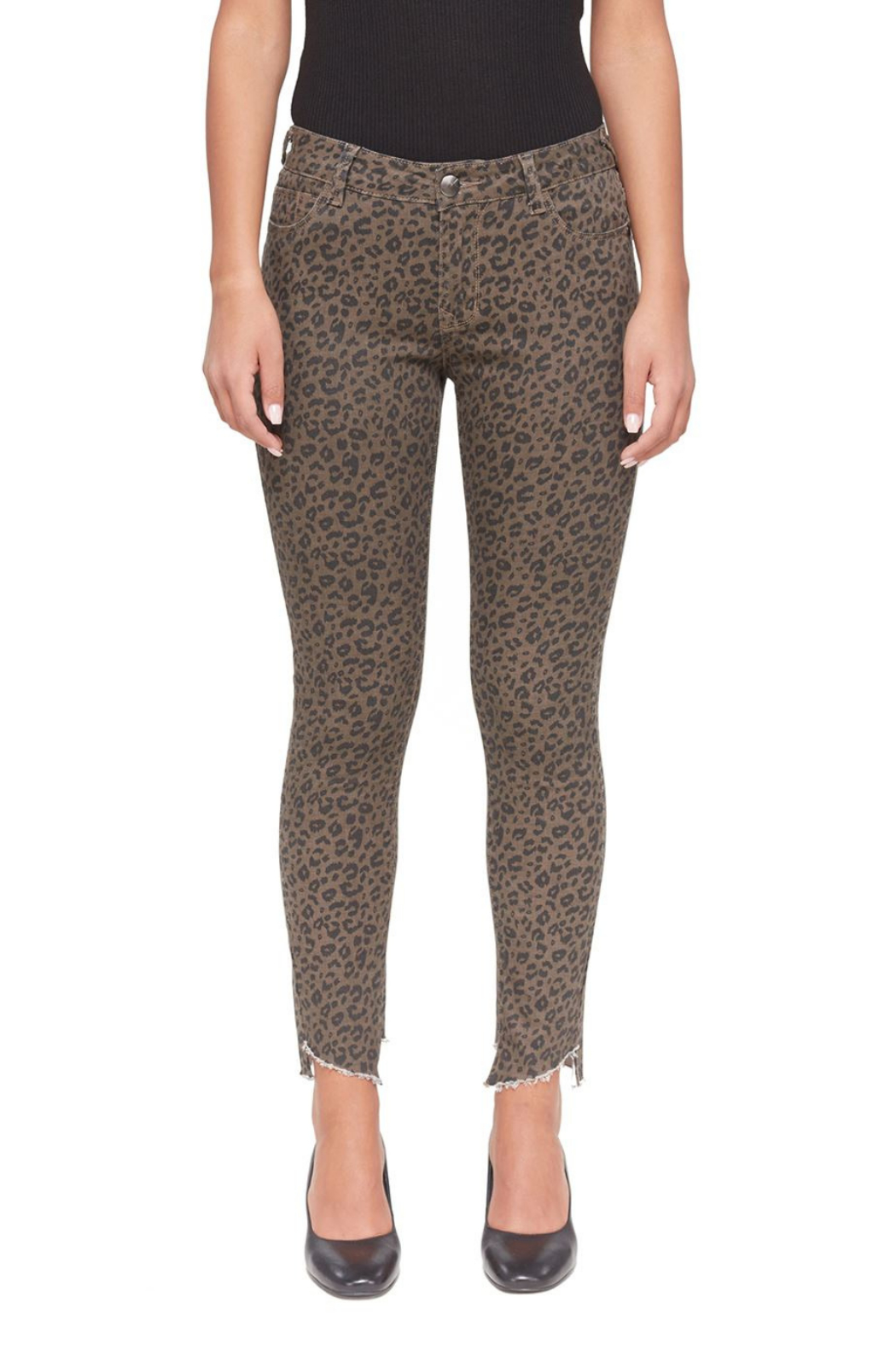 Lola Jeans Blair Leopard Mid-Rise Skinny Jean - Main Image