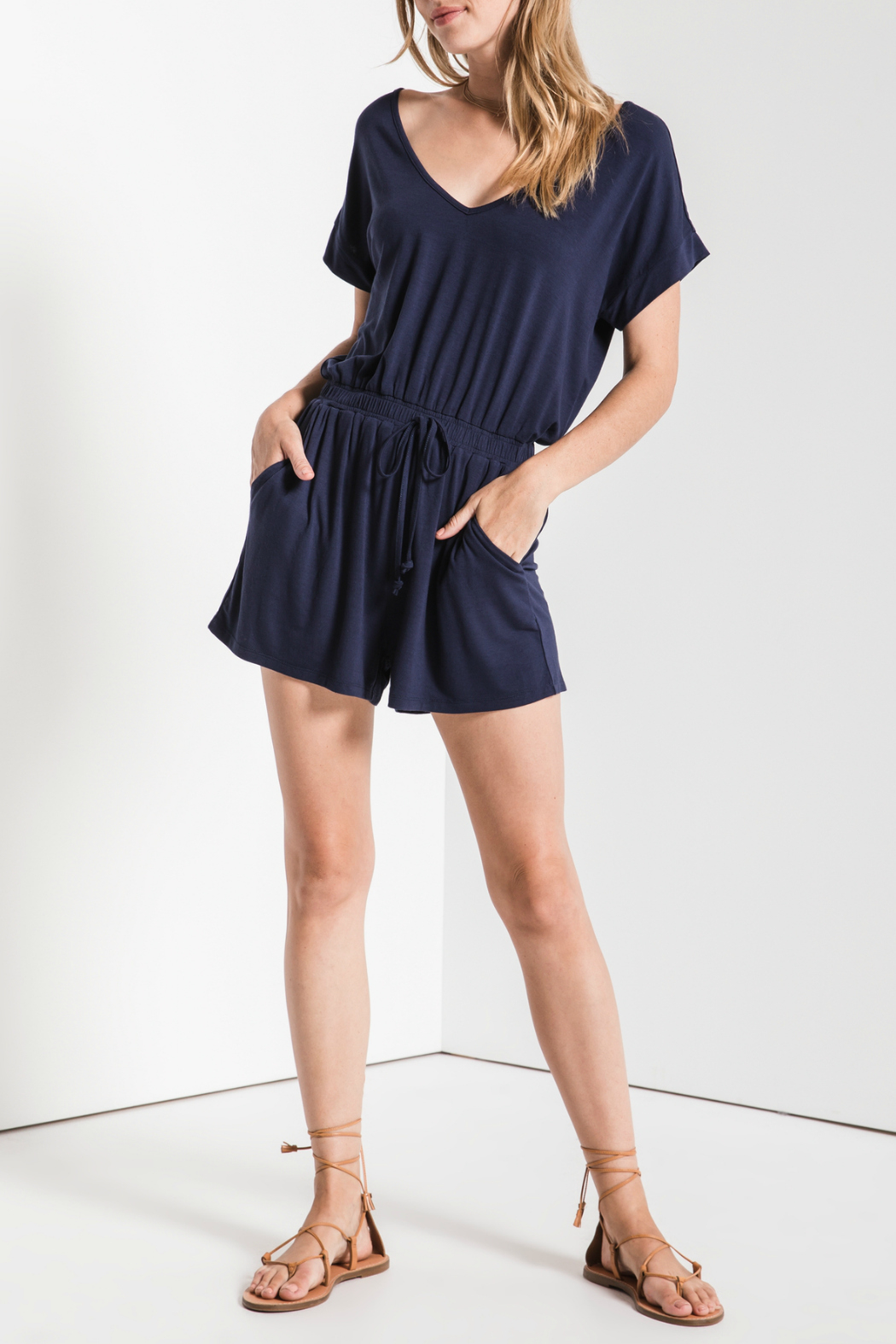 z supply Blaire Sleek Jersey Romper - Back Cropped Image