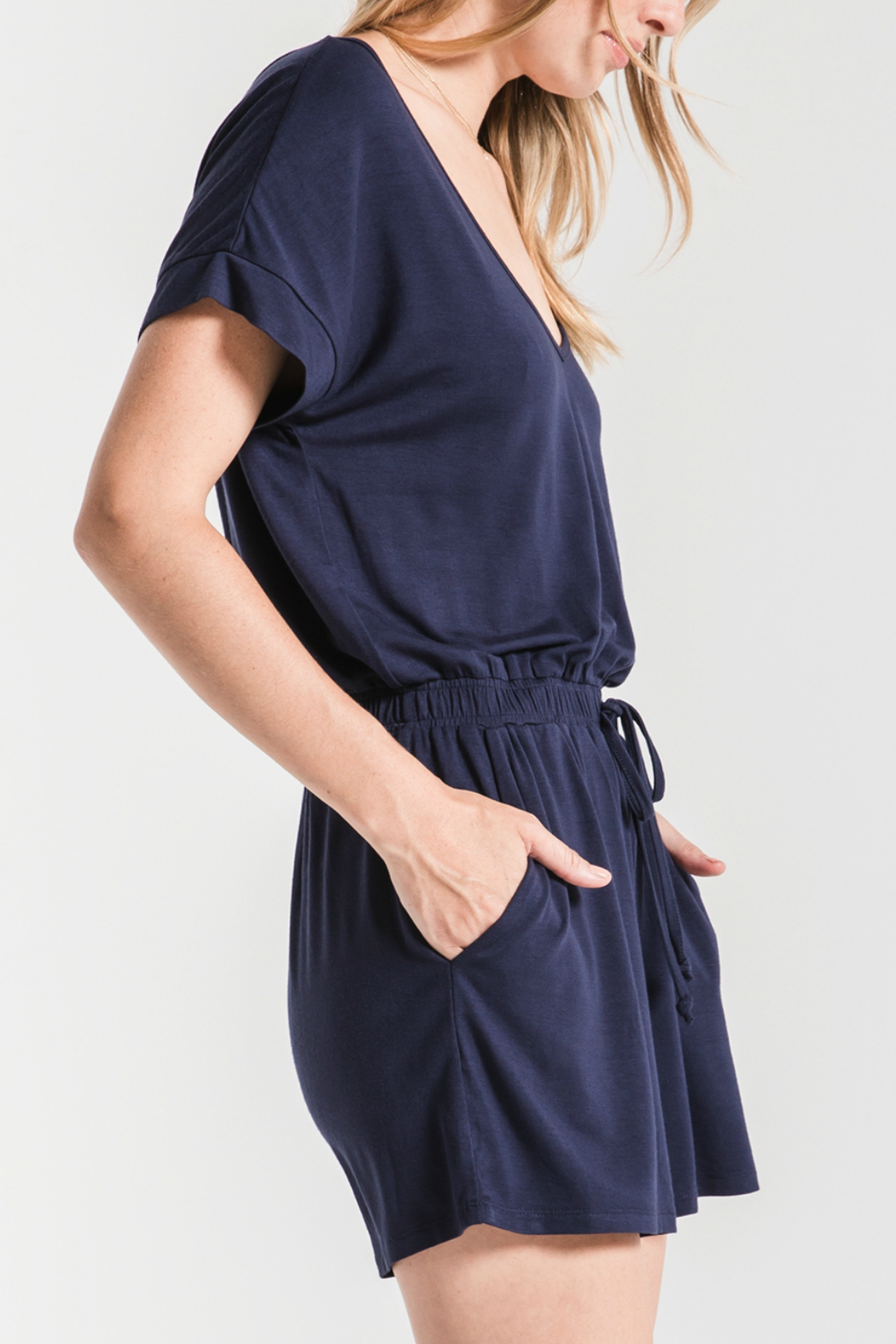 z supply Blaire Sleek Jersey Romper - Front Full Image