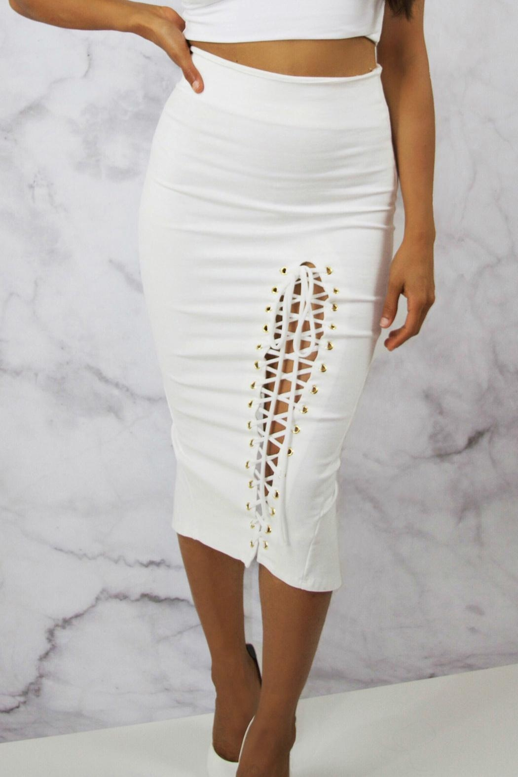 BLANC White Pencil Skirt - Front Cropped Image