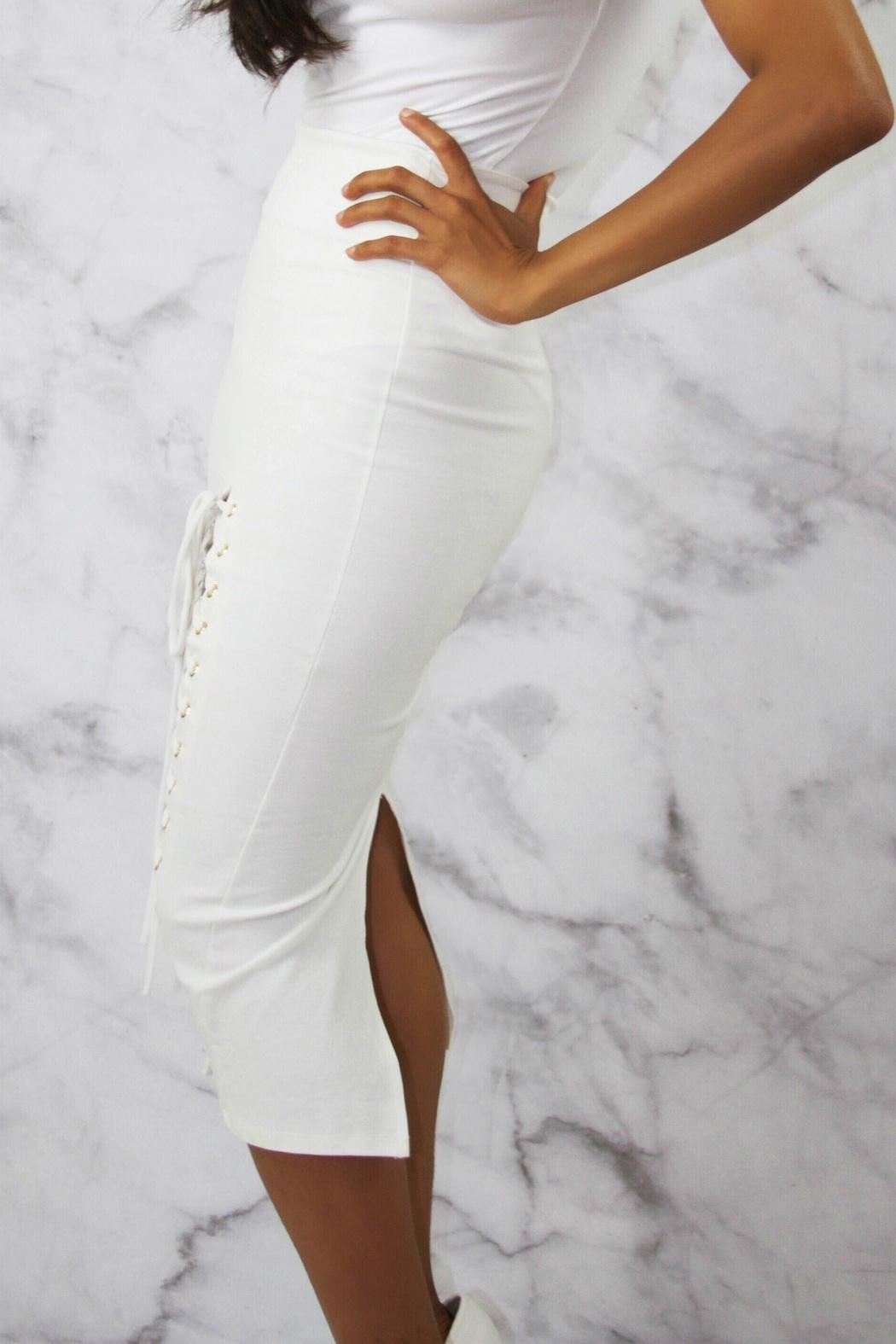 BLANC White Pencil Skirt - Side Cropped Image