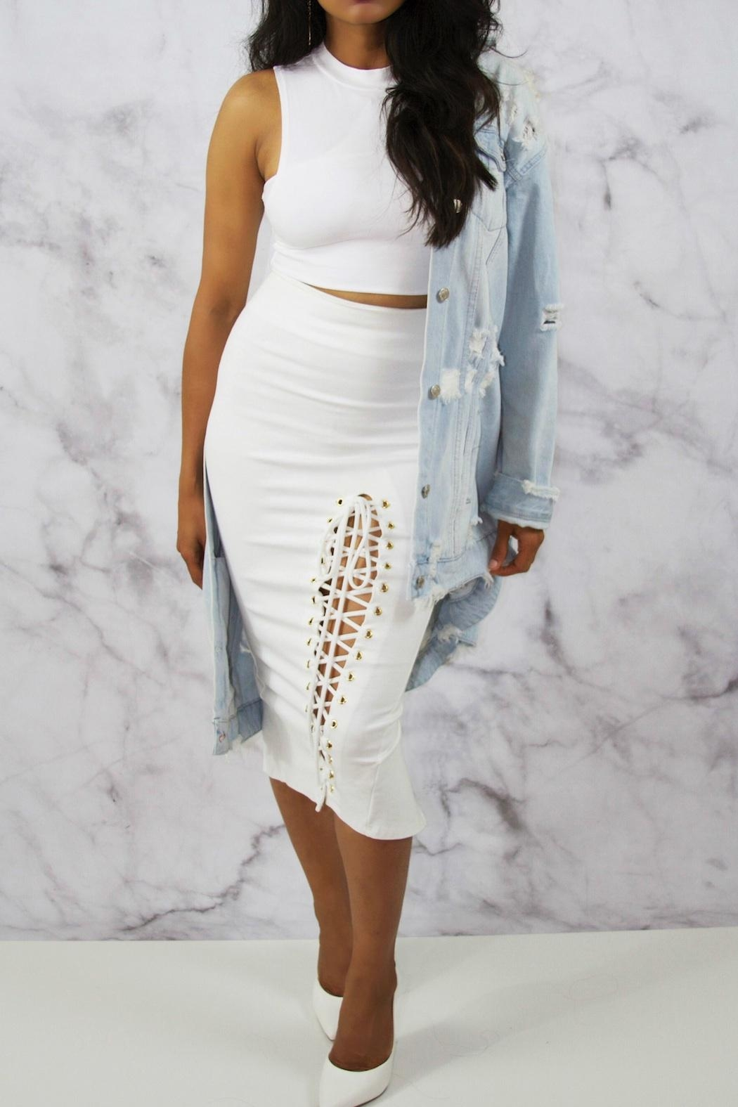 BLANC White Pencil Skirt - Back Cropped Image