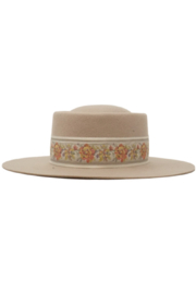 Olive & Pique Blanche Wool Felt Boater Hat - Product Mini Image