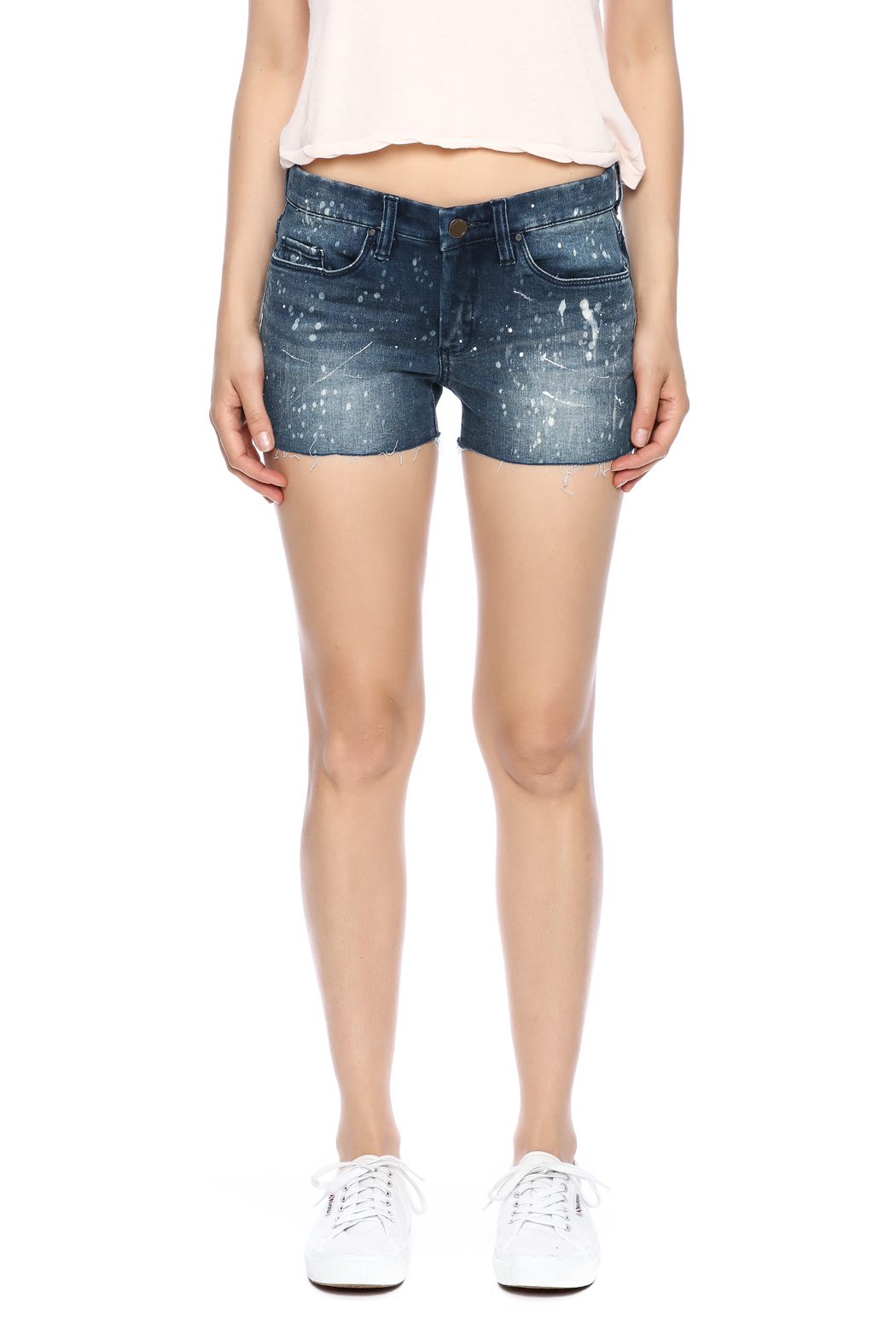 Blank Paint Splatter Cutoff Shorts - Side Cropped Image