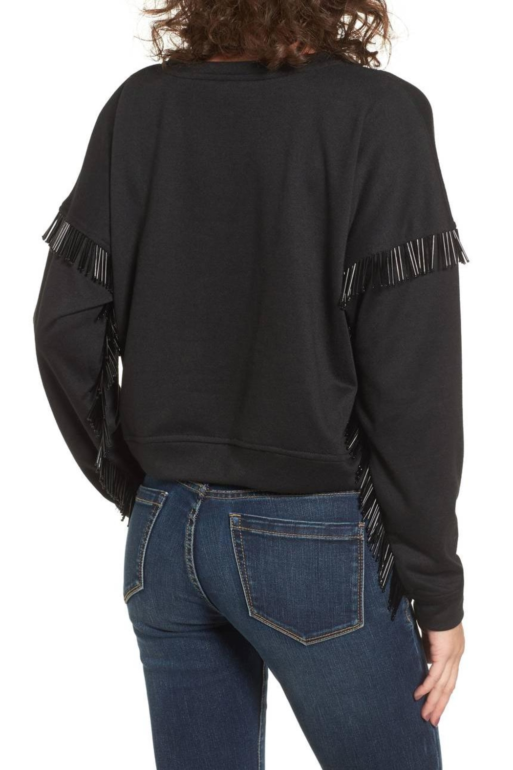 Blank NYC Beaded Fringe Crop Top - Side Cropped Image