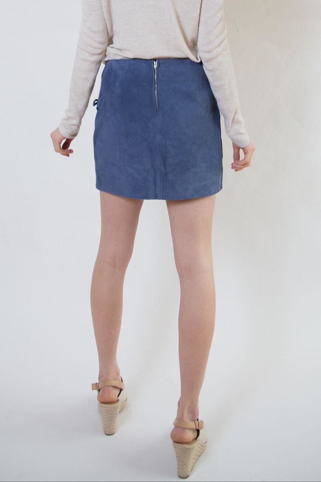 Blank NYC Blue Suede Skirt - Side Cropped Image