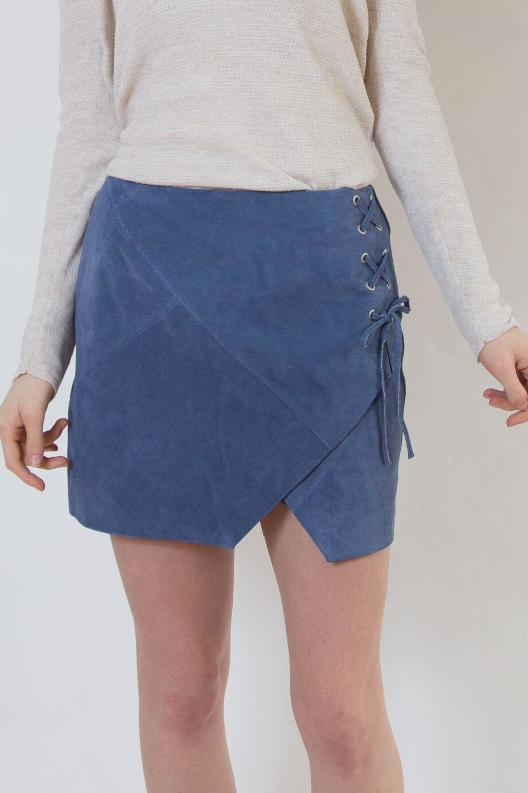 Blank NYC Blue Suede Skirt - Main Image