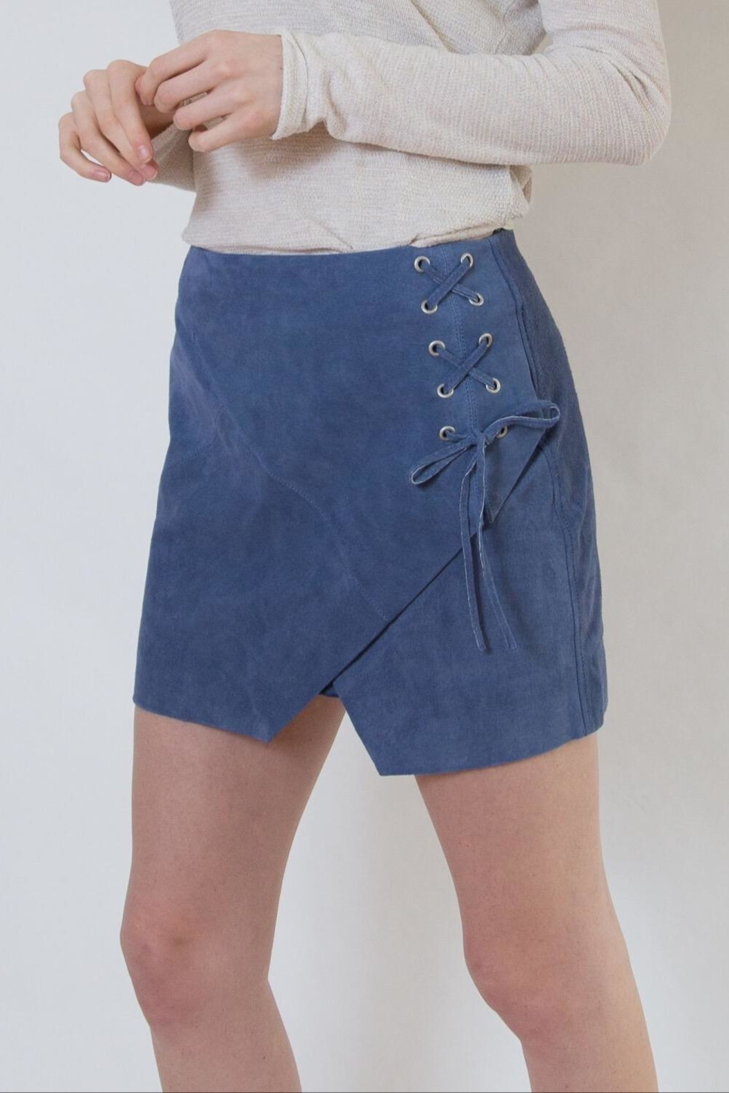 Blank NYC Blue Suede Skirt - Front Full Image
