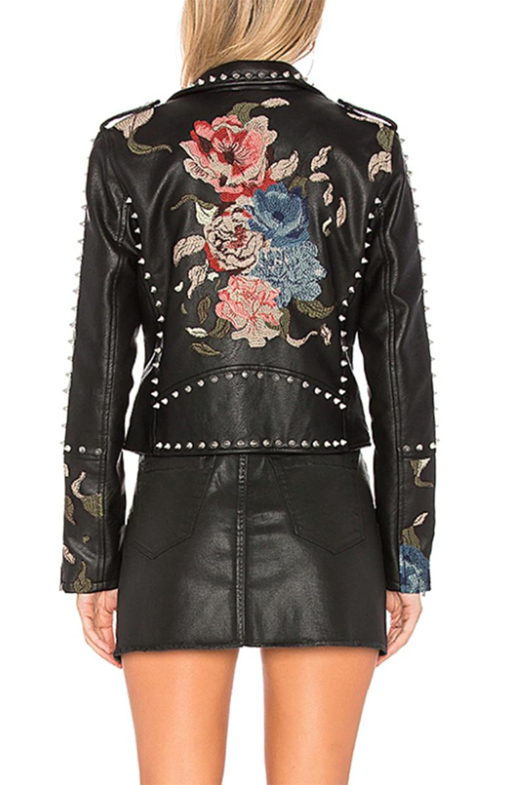 Blank NYC Embroidered Studded Moto Jacket - Side Cropped Image