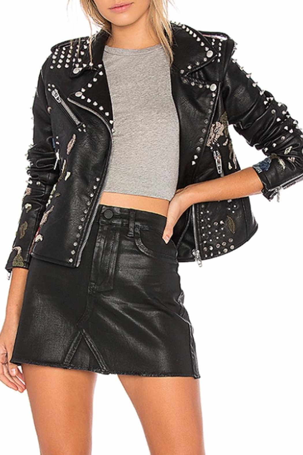 Blank NYC Embroidered Studded Moto Jacket - Front Full Image