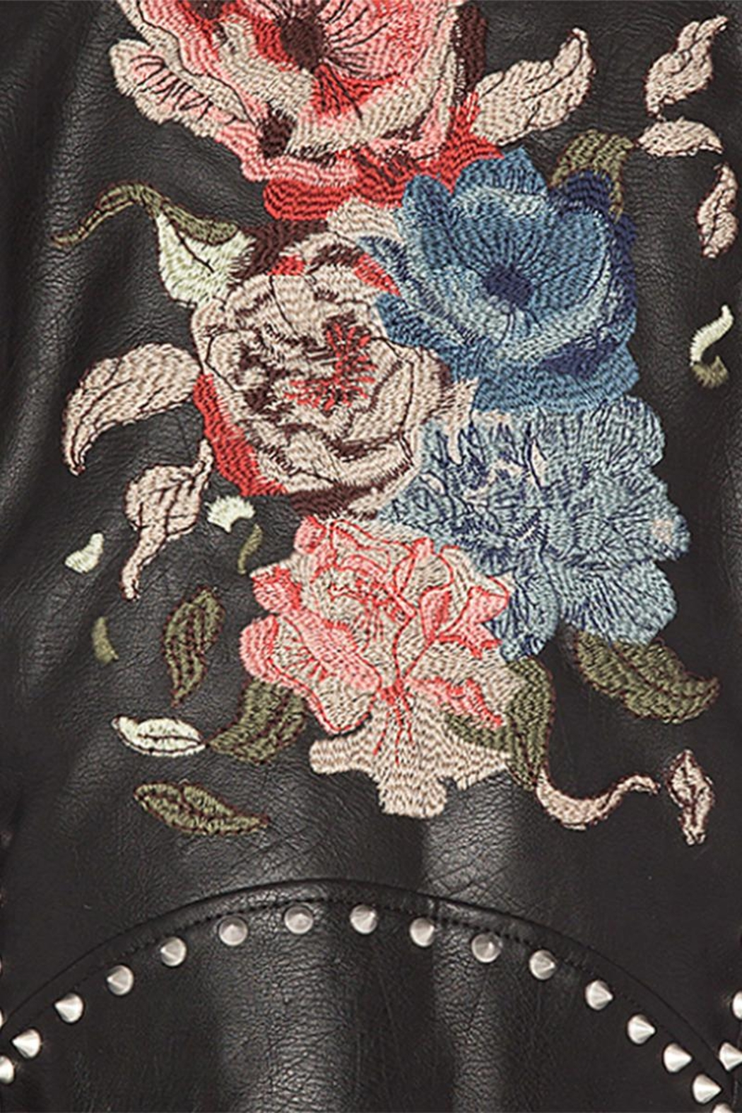 Blank NYC Embroidered Studded Moto Jacket - Back Cropped Image