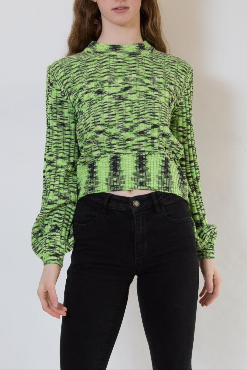 Blank NYC Green Sweater - Front Cropped Image