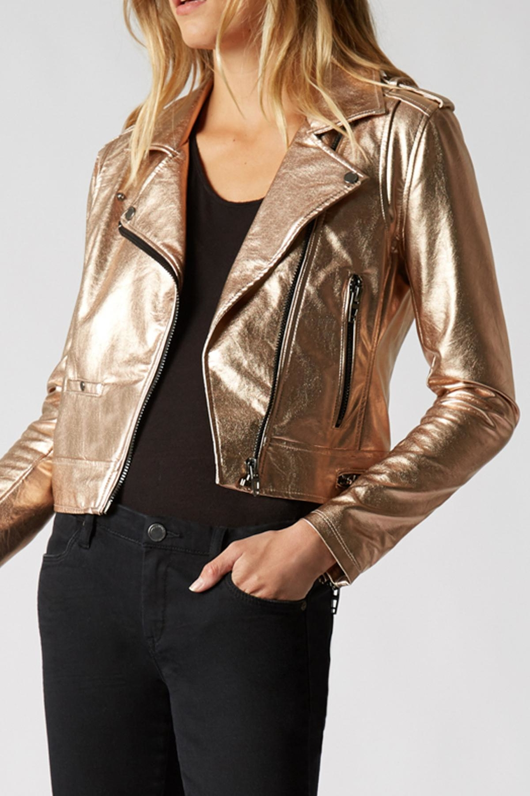 Blank NYC Metallic Moto Jacket - Front Full Image