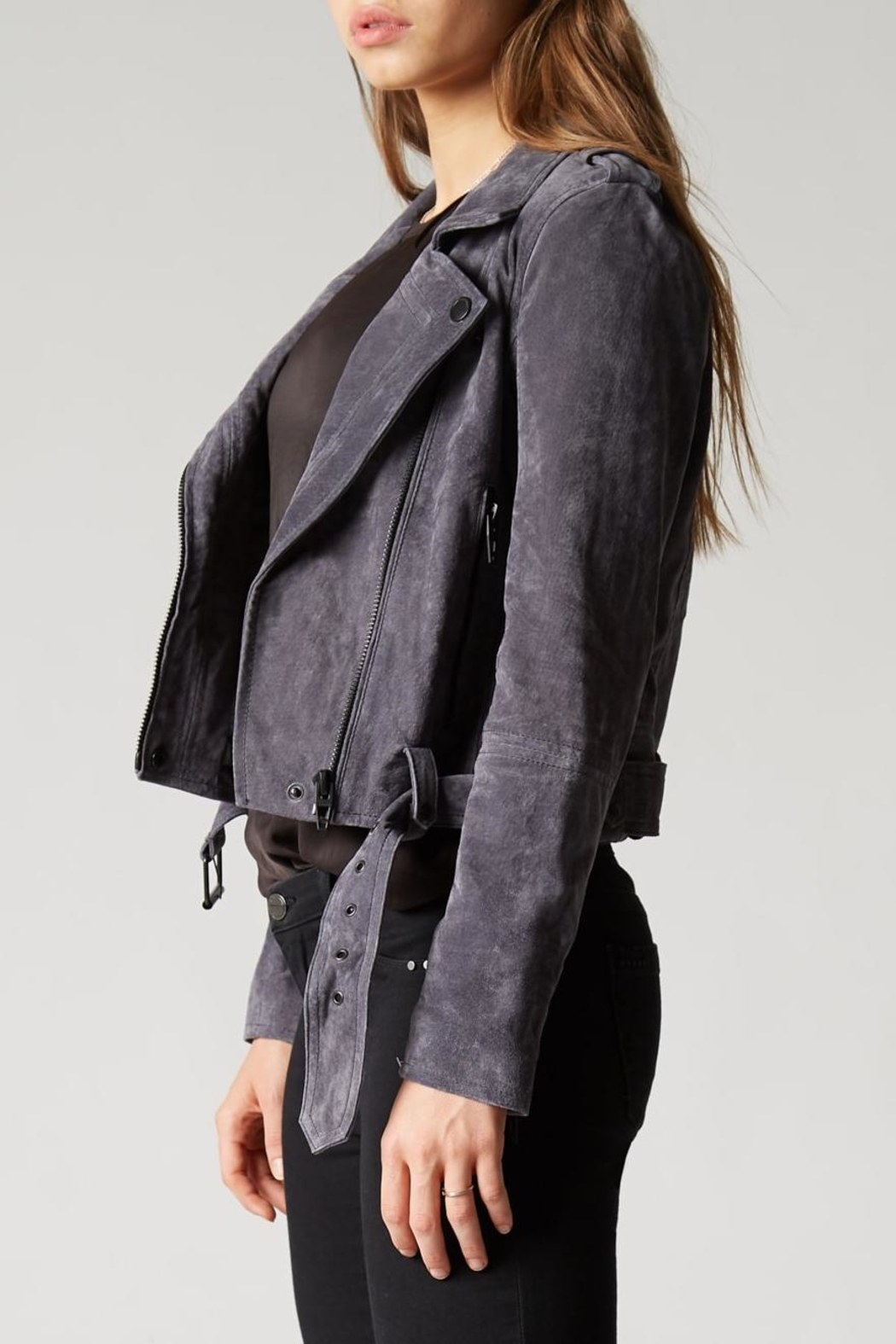 Blank NYC Stargazer Suede Moto Jacket - Side Cropped Image
