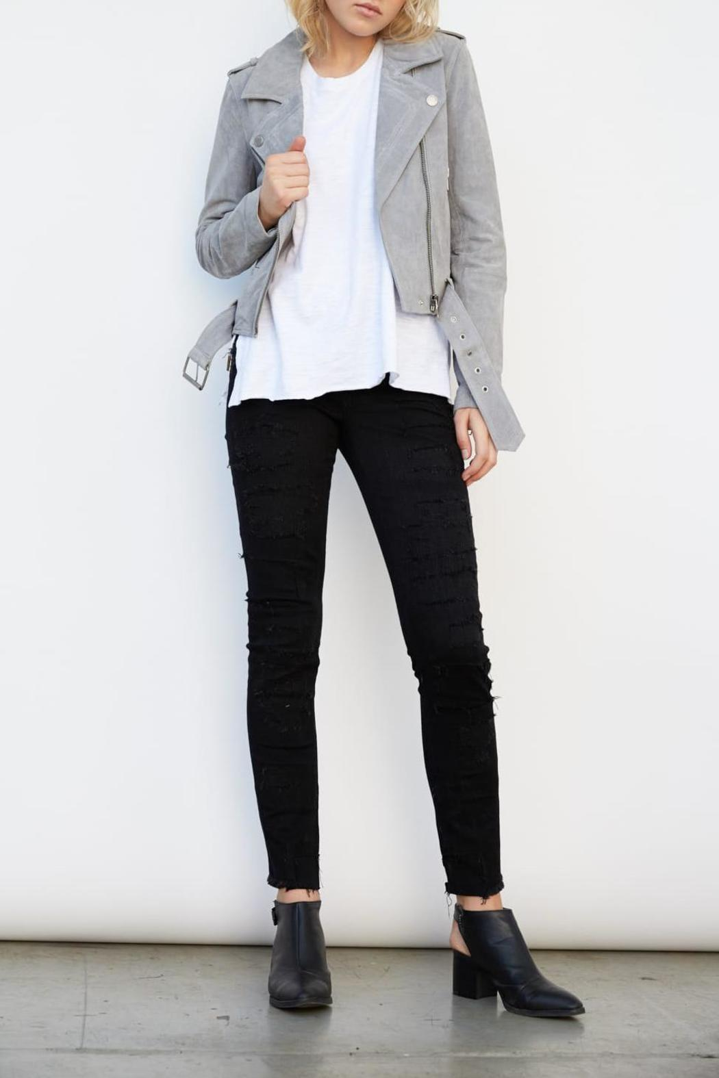 Blank NYC Suede Belted Moto - Front Cropped Image