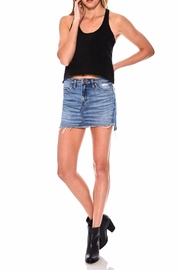 BlankNYC Distressed Denim Miniskirt - Front cropped