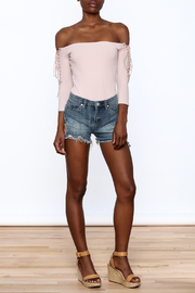 BlankNYC Embroidered Denim Shorts - Front full body