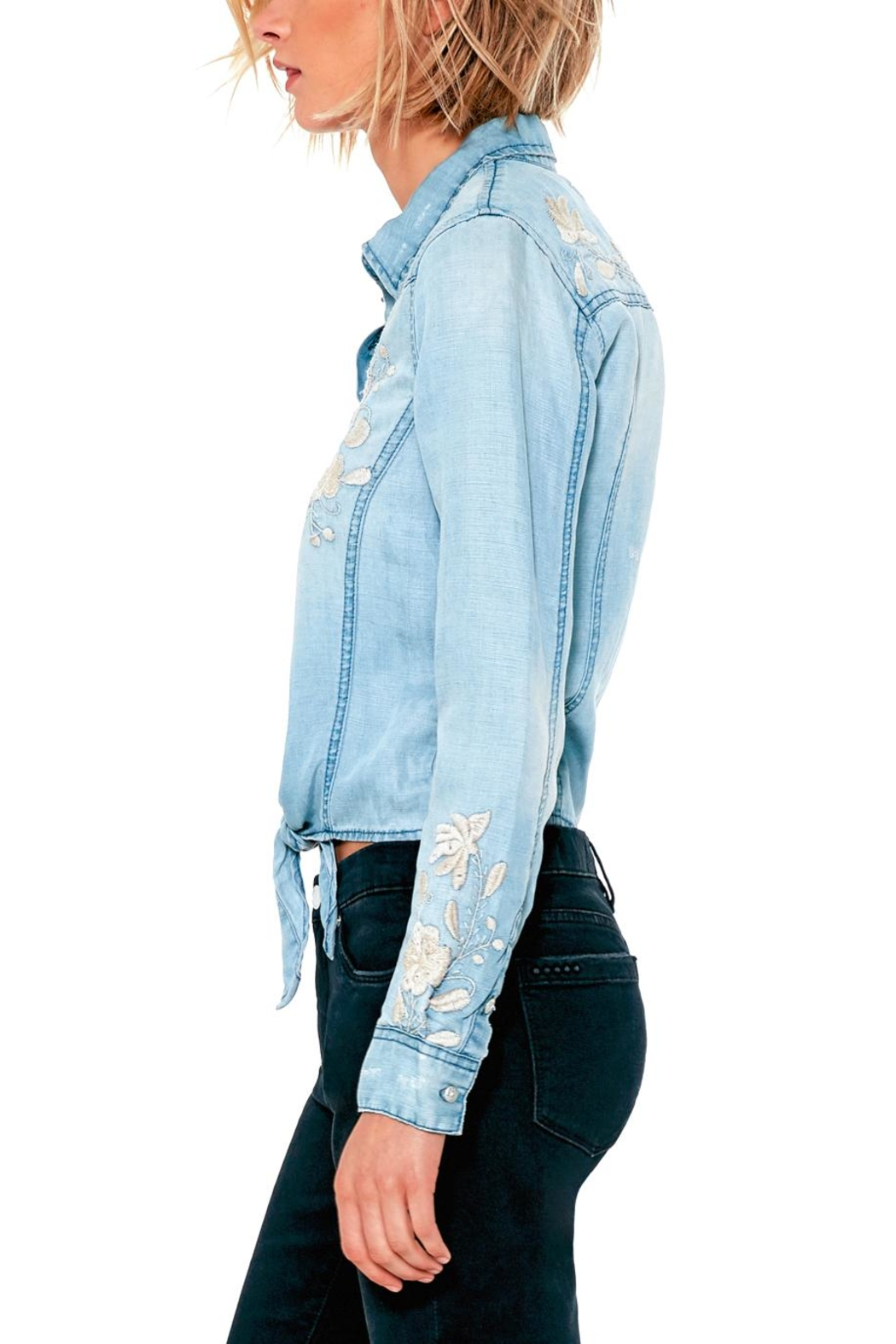BlankNYC Embroidered Knotted Top - Front Full Image