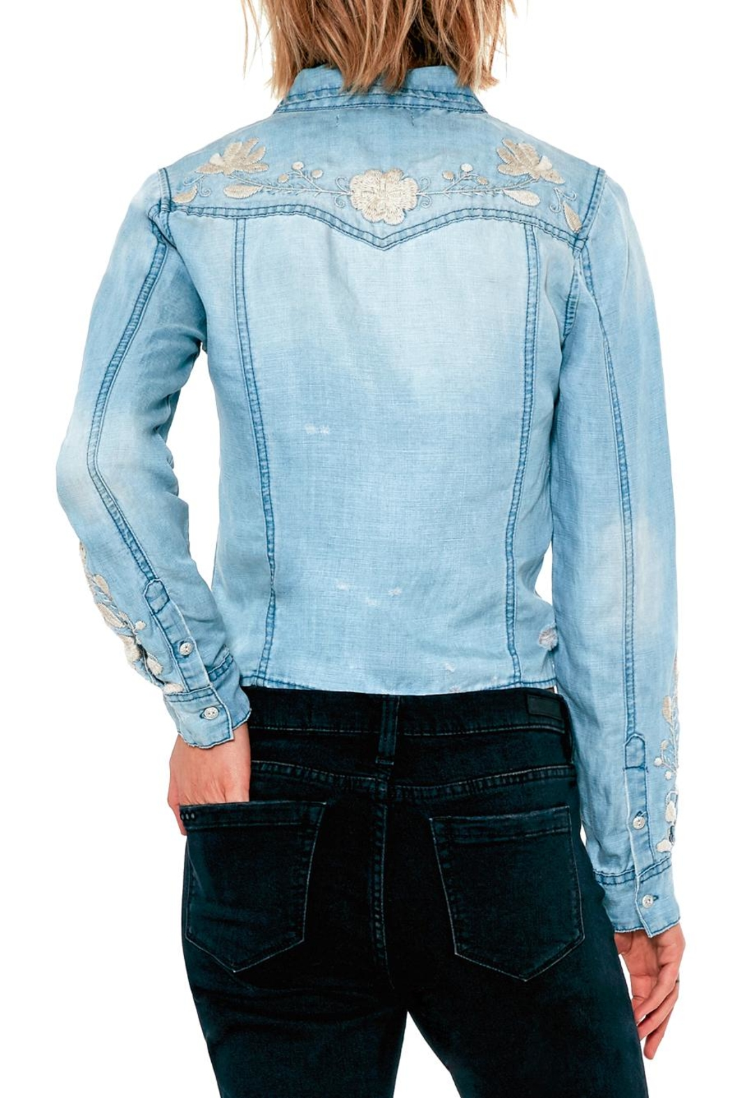 BlankNYC Embroidered Knotted Top - Side Cropped Image