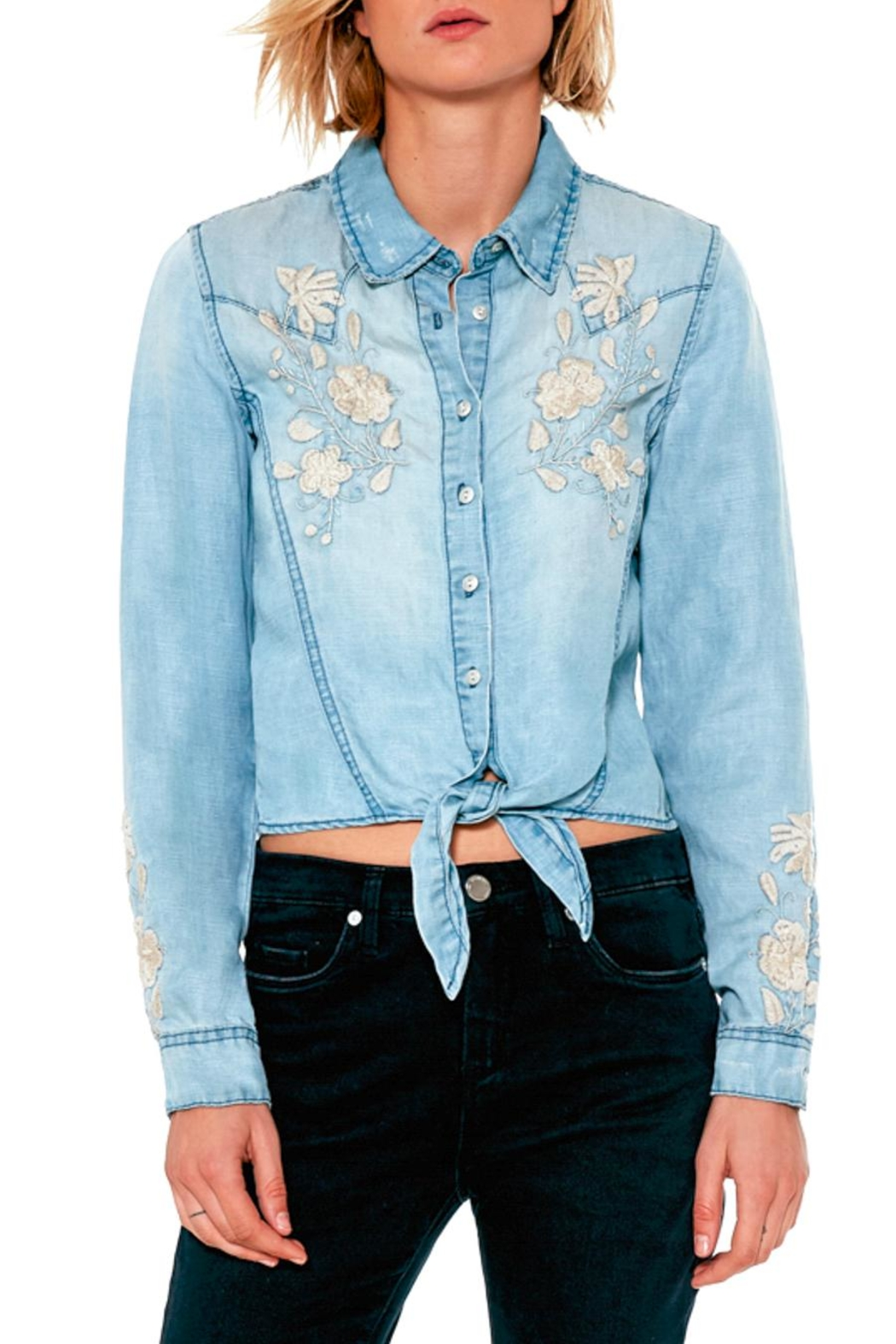BlankNYC Embroidered Knotted Top - Main Image