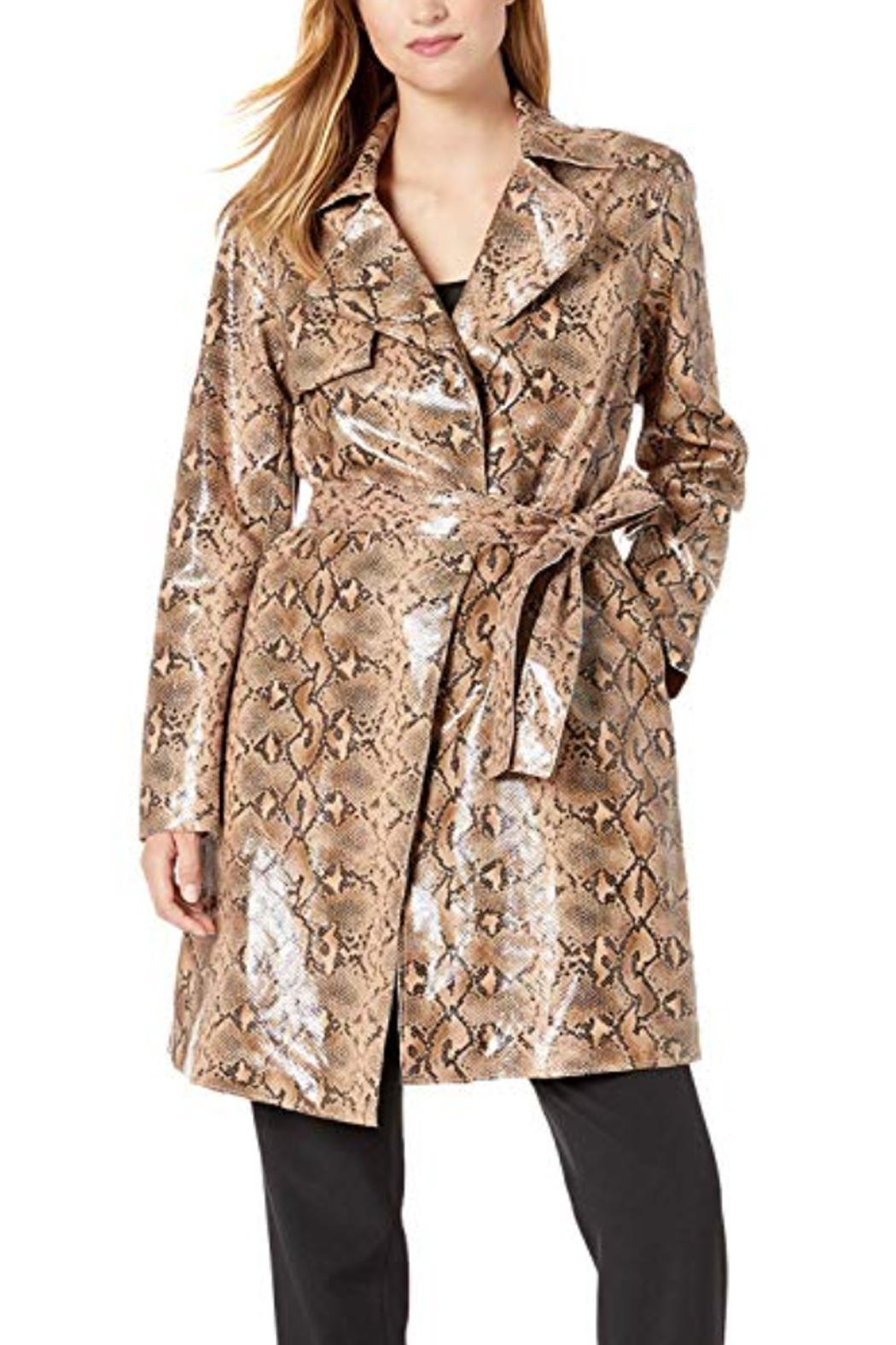 BlankNYC Vegan Snakeskin Trench - Front Cropped Image