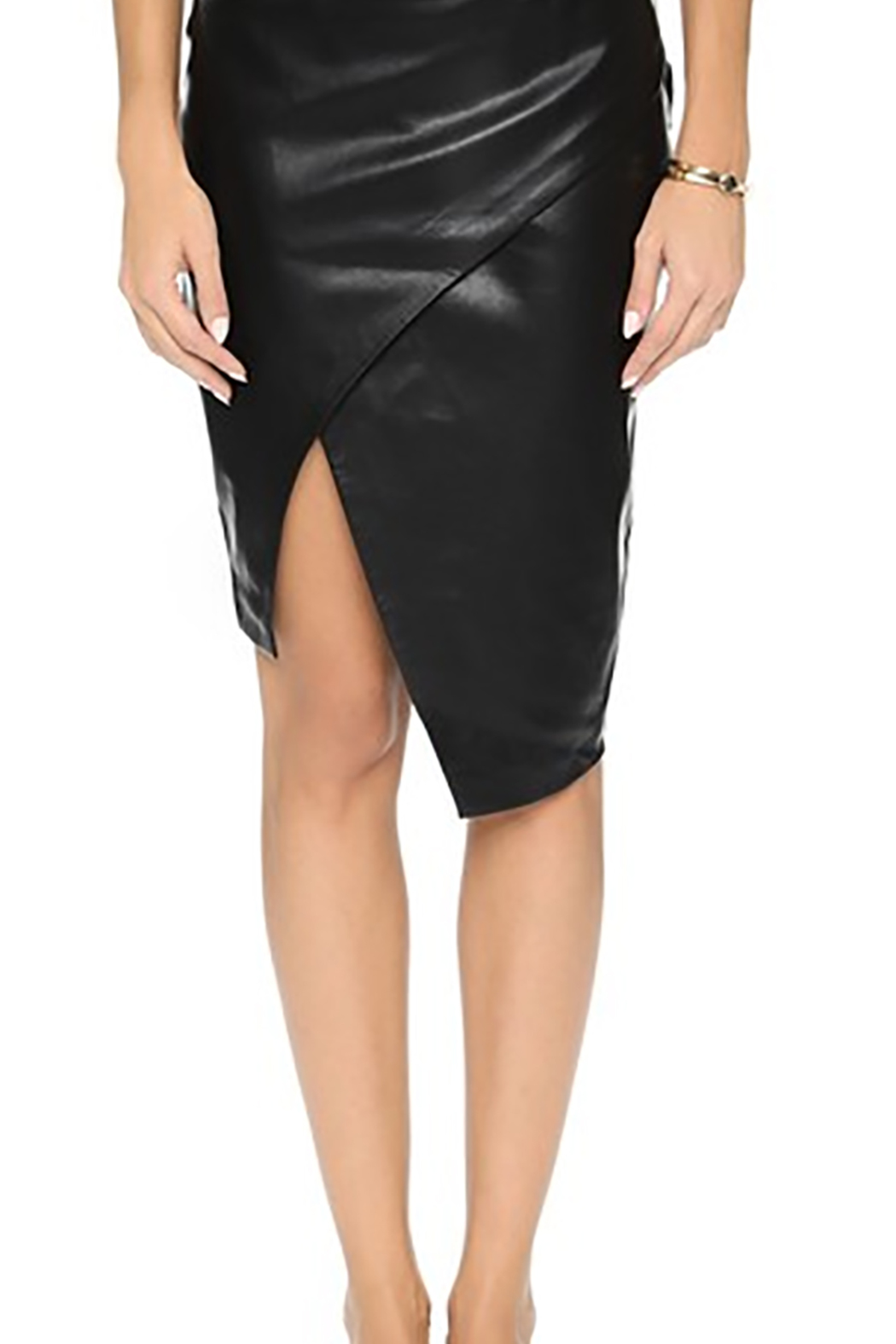 Blaque Label Sculptural Faux-Leather Skirt - Front Cropped Image