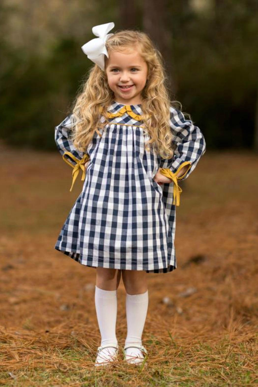 The Oaks Apparel Blayke Navy-Buffalo-Checked Dress - Main Image