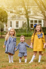 The Oaks Apparel Blayke Navy-Buffalo-Checked Dress - Front full body