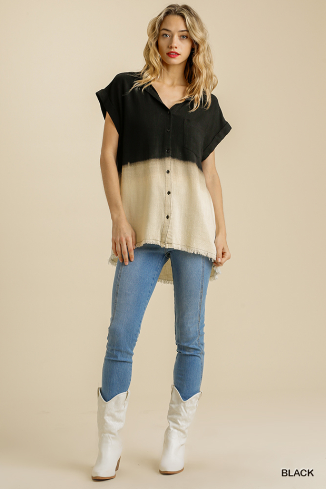 umgee  BLEACH DIP DYE TOP W/FRAY - Front Cropped Image