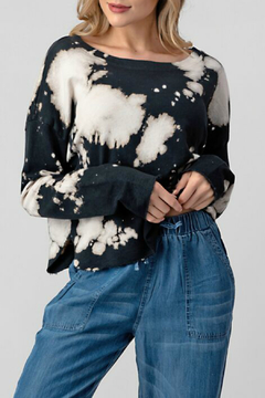 Hashttag Bleach dye sweat top raw edge hem - Product List Image