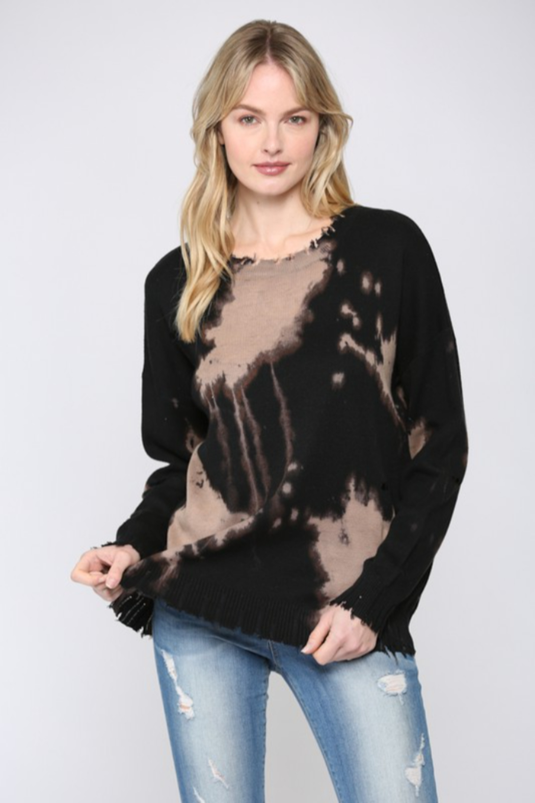 Fate Inc. Bleached Distressed Pullover Sweater Top - Main Image