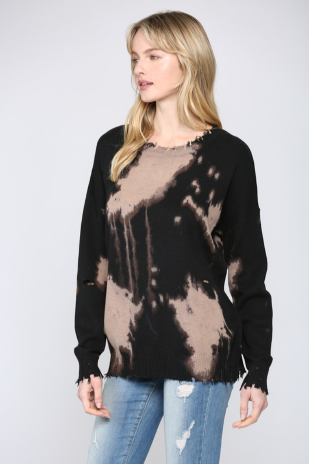 Fate Inc. Bleached Distressed Pullover Sweater Top - Front Full Image