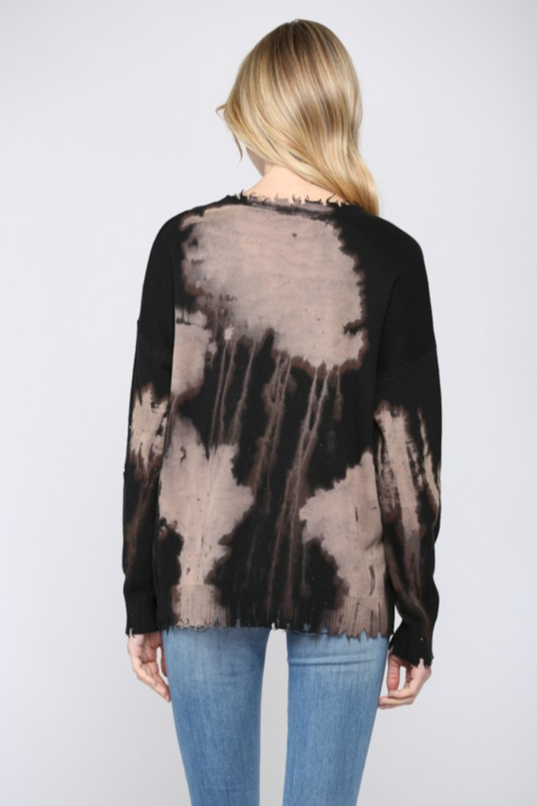 Fate Inc. Bleached Distressed Pullover Sweater Top - Side Cropped Image
