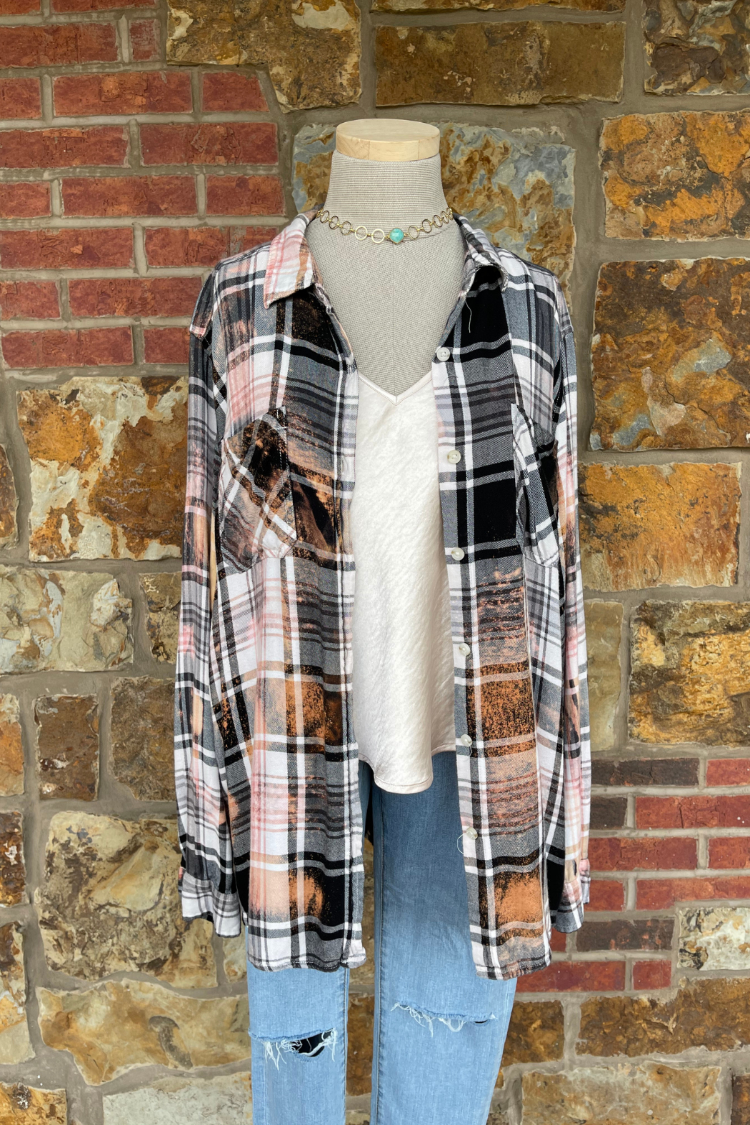 Soulstice Bleached Flannel Shirt w White Lips - Front Full Image