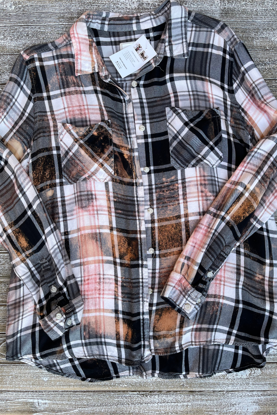 Soulstice Bleached Flannel Shirt w White Lips - Back Cropped Image