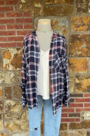 Soulstice Bleached Flannel Shirt w White Lips - Front full body