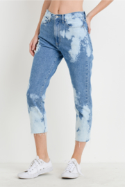 just black Bleached Mom Jeans - Front full body
