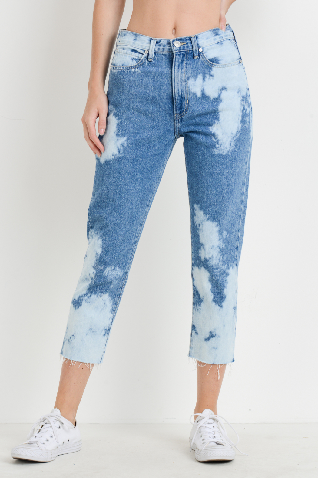 just black Bleached Mom Jeans - Front Cropped Image