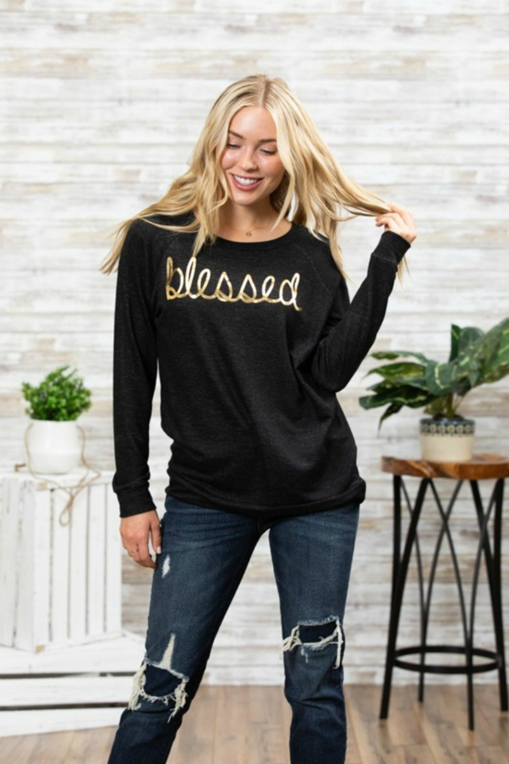 GREATFUL HEARTS BLESSED FOIL SWEATSHIRT - Front Cropped Image