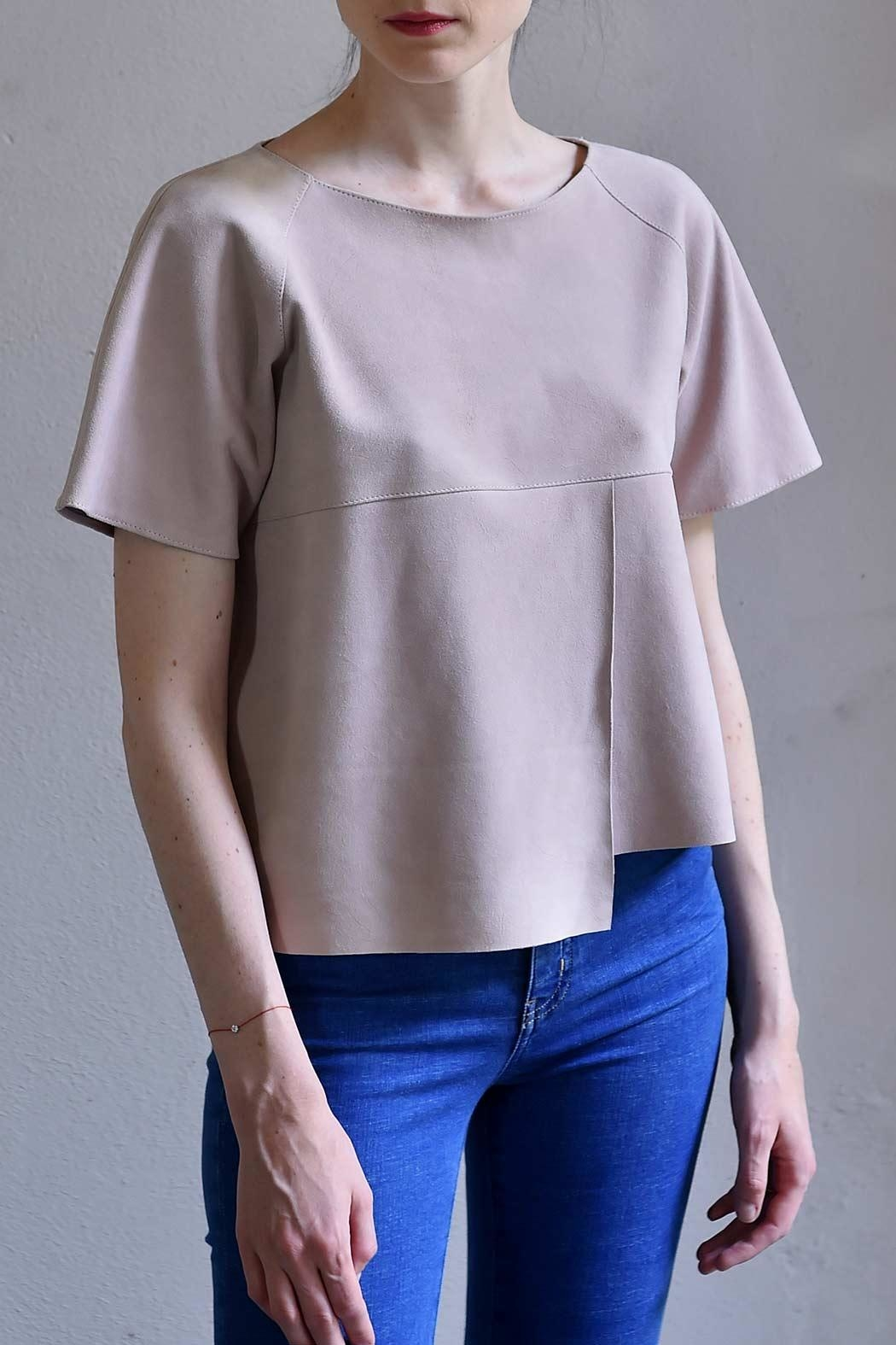 BLESSED Pink Suede T-shirt - Main Image