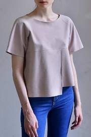 BLESSED Pink Suede T-shirt - Front cropped
