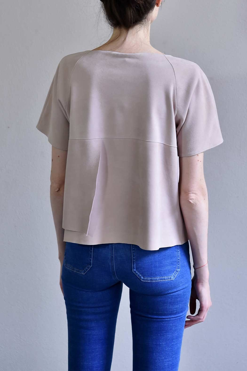 BLESSED Pink Suede T-shirt - Side Cropped Image
