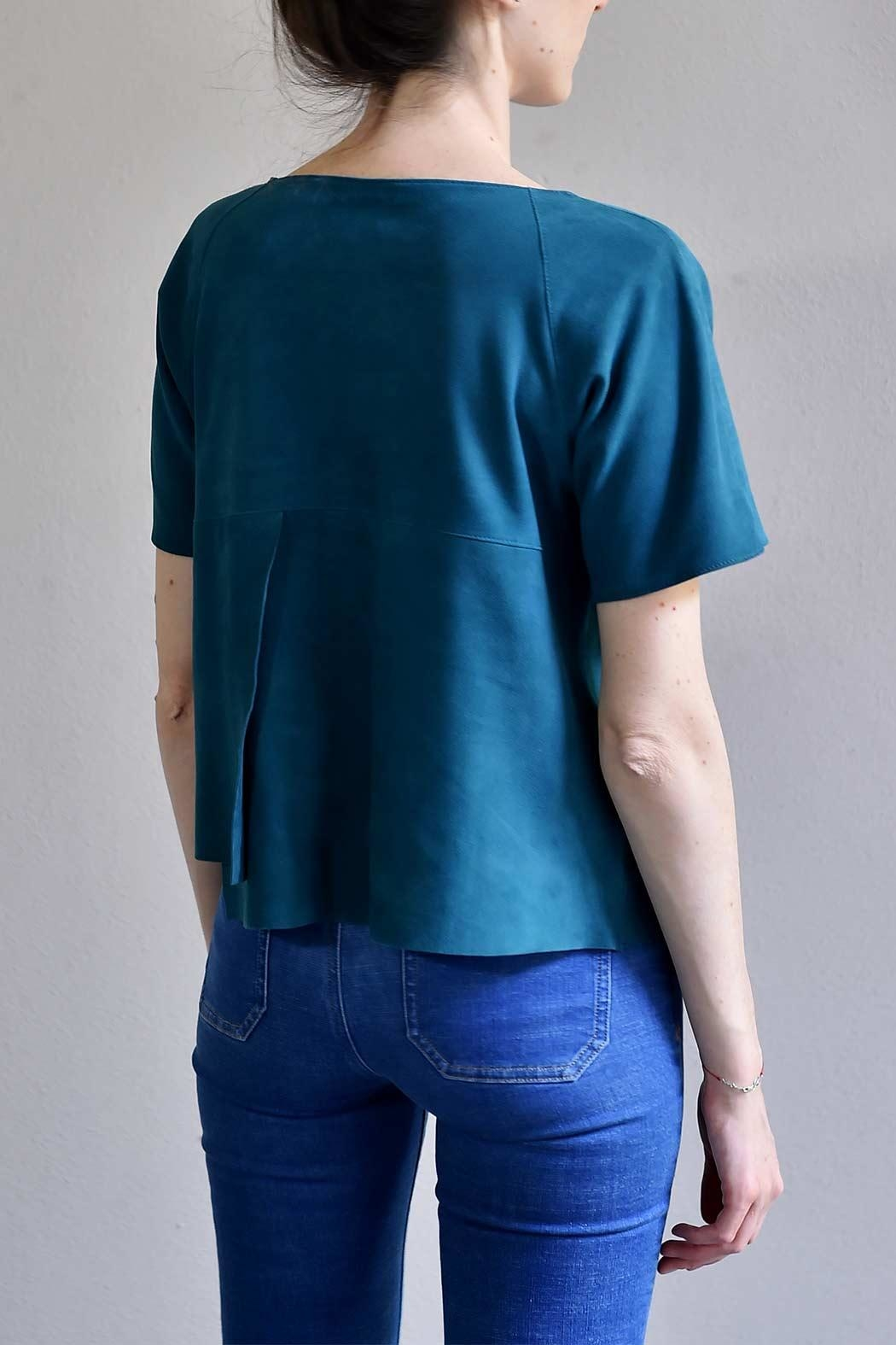 BLESSED Petro Blue Suede T-shirt - Front Full Image