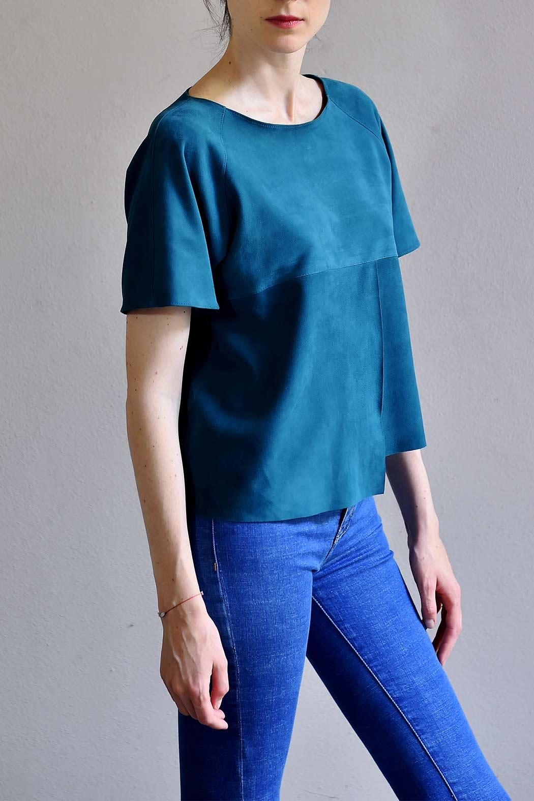 BLESSED Petro Blue Suede T-shirt - Main Image