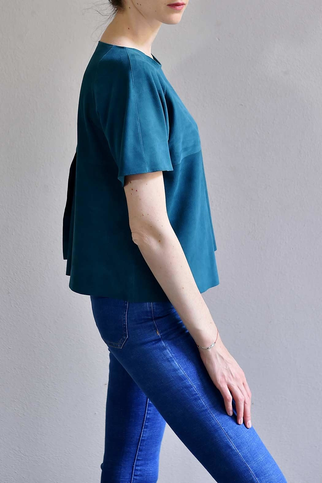 BLESSED Petro Blue Suede T-shirt - Side Cropped Image
