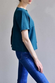 BLESSED Petro Blue Suede T-shirt - Side cropped