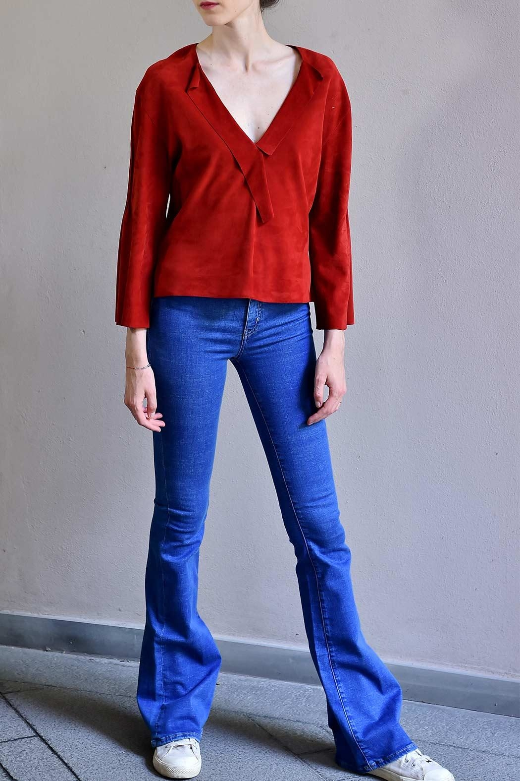 BLESSED Ruby Red Suede Blouse - Front Full Image